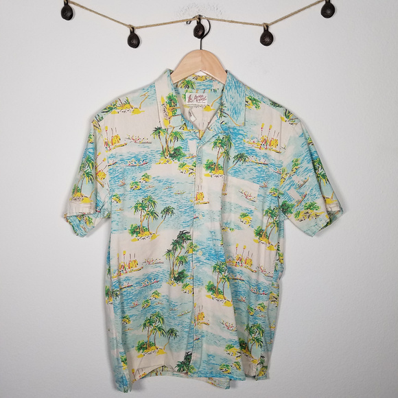 Lucky Brand Other - Lucky Brand Dale Hope Hawaiian Aloha Button Up L